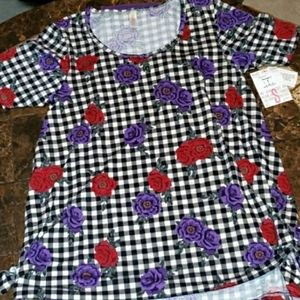Lularoe Perfect T Size S NWT checkered roses